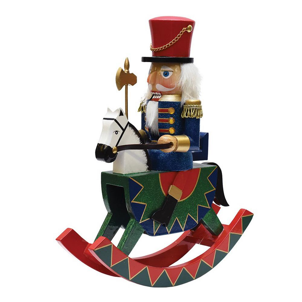 Decorative Wooden Green Red and Blue Christmas Nutcracker Soldier on Rocking Horse