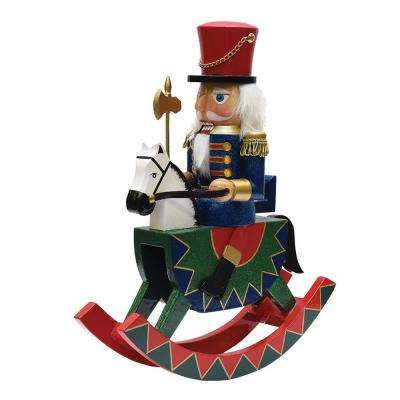 12 in. Decorative Wooden Green Red and Blue Christmas Nutcracker Soldier on Rocking Horse