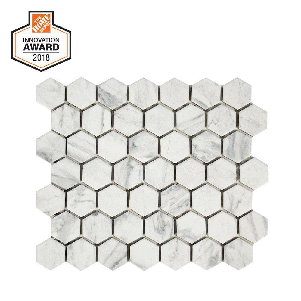 Carrara 10 in. x 12 in. x 6.35mm Ceramic Mosaic Tile
