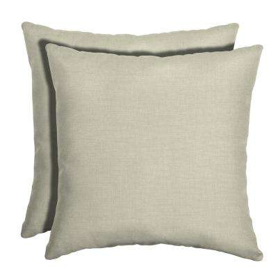 16 in. x 16 in. New Tan Leala Texture Square Outdoor Throw Pillow (2-Pack)