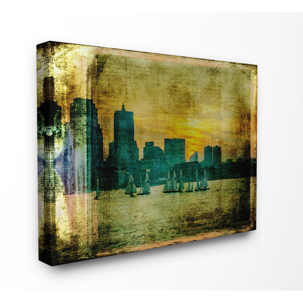 Boston City Skyline Old Photograph By Brandi Fitzgerald Printed Canvas Wall Art