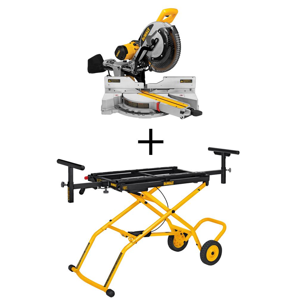 dewalt 15 amp 12 in sliding miter saw with rolling miter saw stand