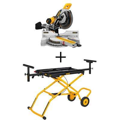 15 Amp 12 in. Sliding Miter Saw with Rolling Miter Saw Stand