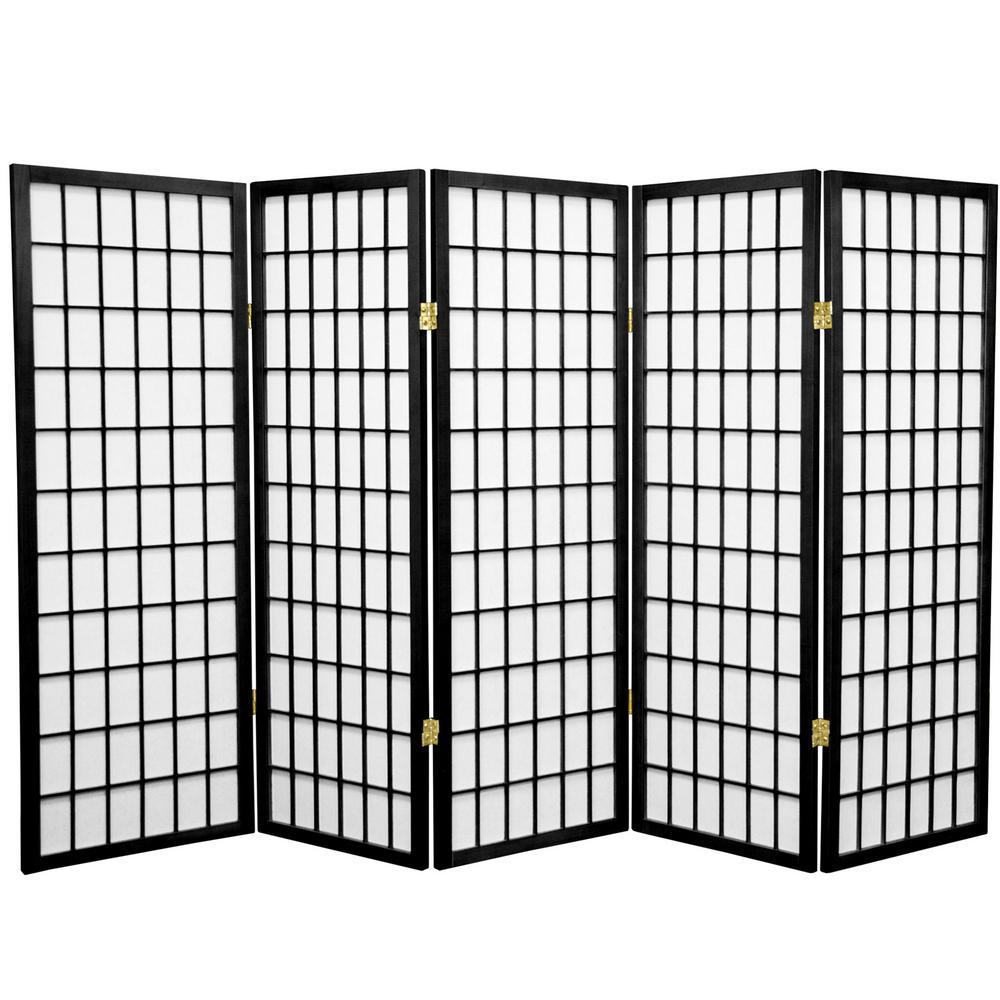 4 ft. Black 5-Panel Room Divider