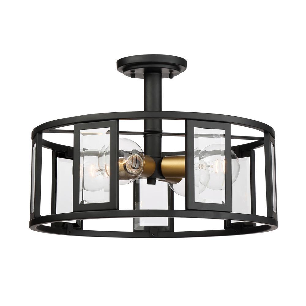 4-Light Black Semi-Flushmount with Clear Beveled Glass