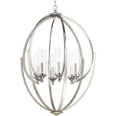 Evoke Collection 6-light Polished Nickel Chandelier with Clear Glass Shade