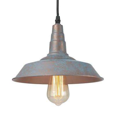 1-Light Vintage Blue Rustic Barn Warehouse Pendant