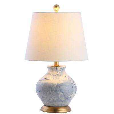 Holly 20.5 in. Blue/White Marbleized Ceramic Table Lamp
