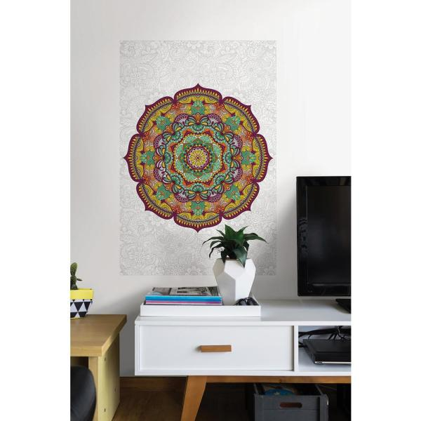 24 in. x 36 in. Paradise Mandala Coloring Wall Decal