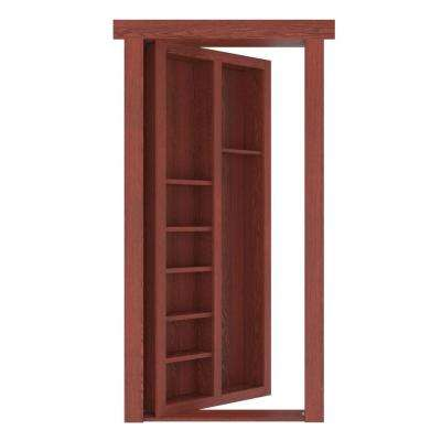 32 in. x 80 in. Flush Mount Assembled Pool Cue Door Oak Cherry Stained Right-Hand Outswing