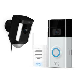 Ring Wireless Video Door Bell 2 with Chime Pro and Spotlight Cam Wired Black by Ring