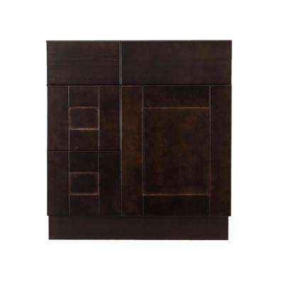 Anchester Assembled 30 x 21 x 33 in. Bath Vanity Sink Base Cabinet with 1 Door 2 Left Drawers in Dark Espresso Finish