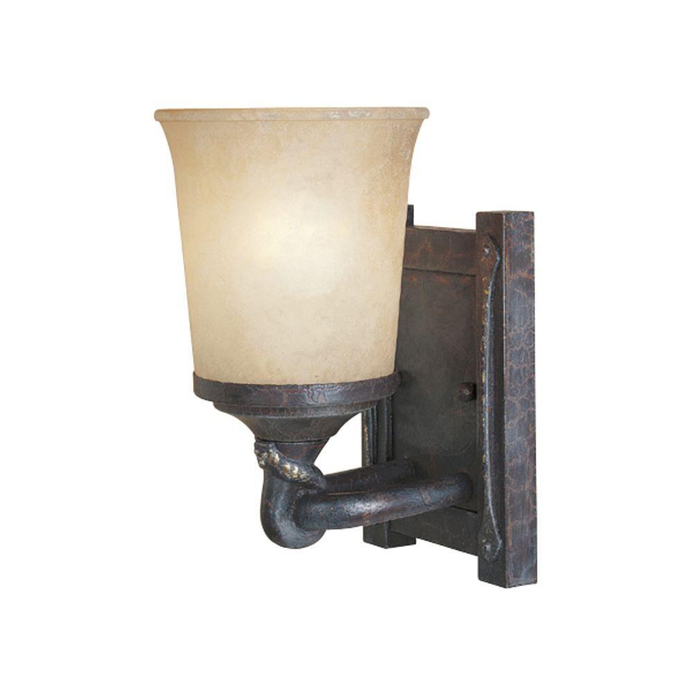 Designers Fountain Austin 1 Light Weathered Saddle Wall Sconce 97301 Wsd The Home Depot