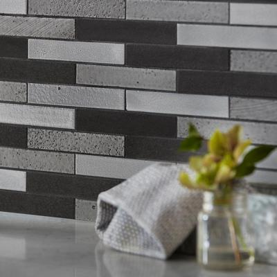 Volcanic Ridge 11.875 in. x 11.875 in. x 10 mm Basalt Mosaic Tile