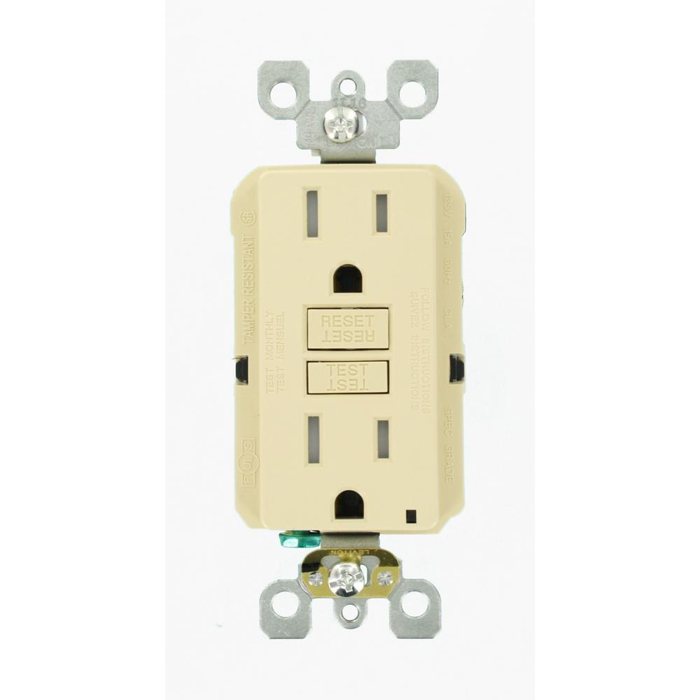 15 Amp 125-Volt Duplex SmarTest Self-Test SmartlockPro Tamper Resistant GFCI Outlet, Ivory