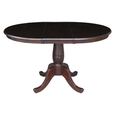 Mocha 36 in. x 36 in. x 48 in. Extension Laurel Pedestal Table