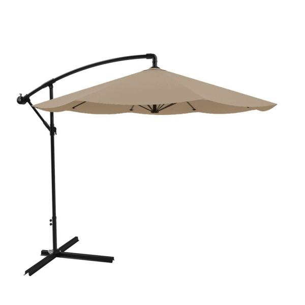 10 ft. Hanging Cantilever Patio Umbrella in Sand