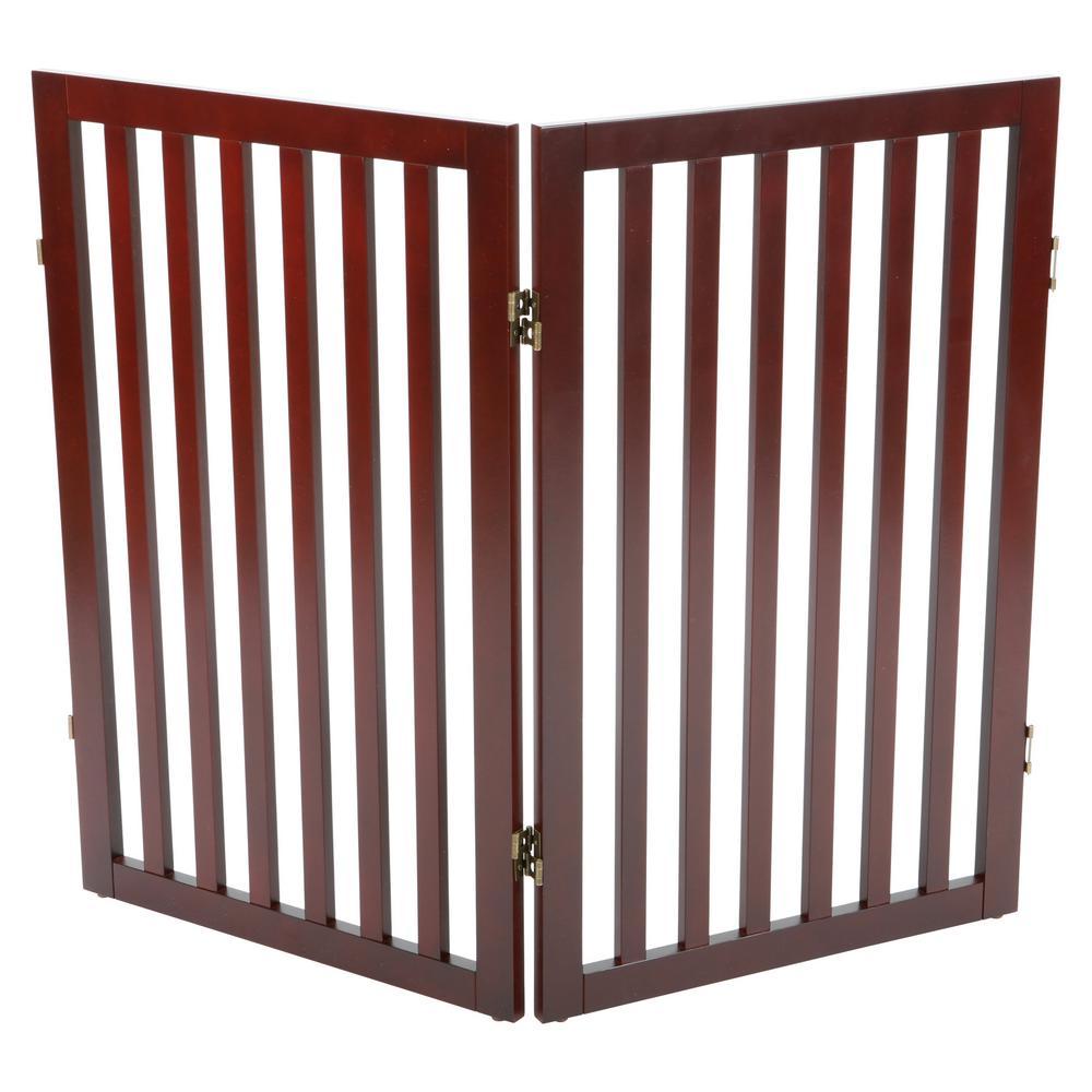 Brown Pet Gate Wooden 2-Panel Pet Gate Extension