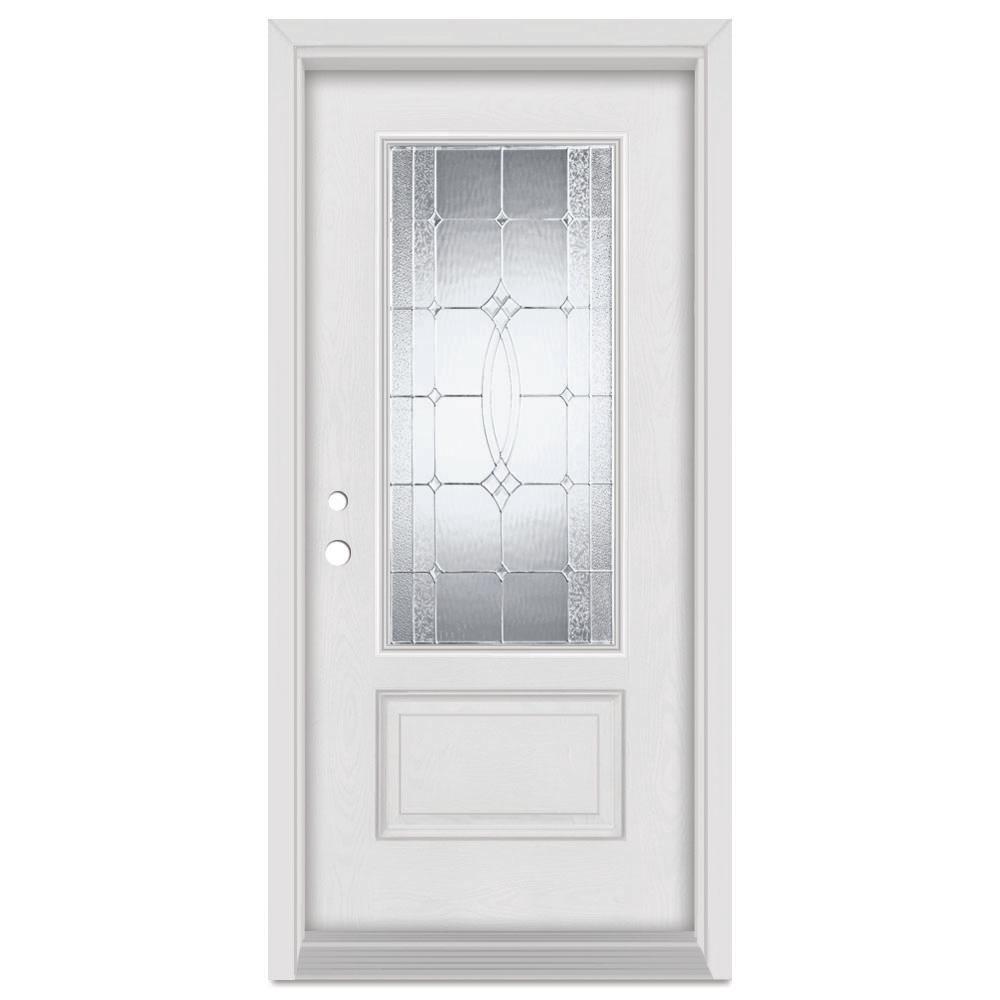 Stanley Doors 32 in. x 80 in. Diamanti Right-Hand Zinc Finished Fiberglass Mahogany Woodgrain Prehung Front Door Brickmould