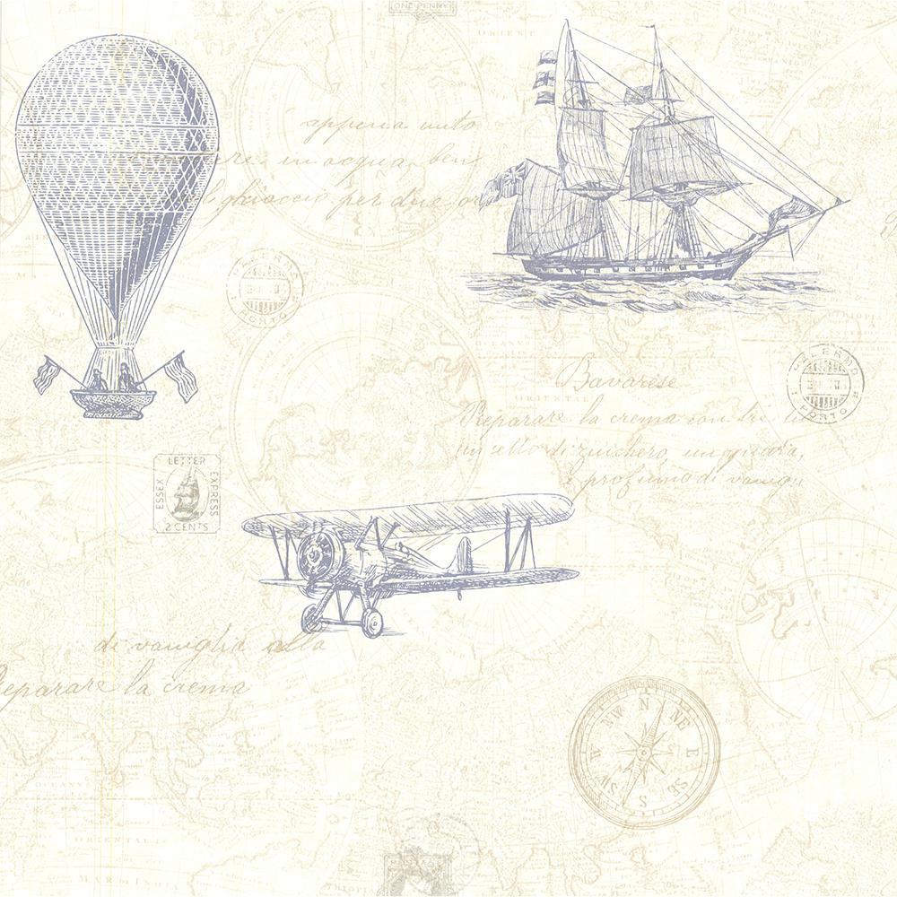 Beacon House 56.4 sq. ft. Explorer Blue Antique Map Wallpaper 2604-21242