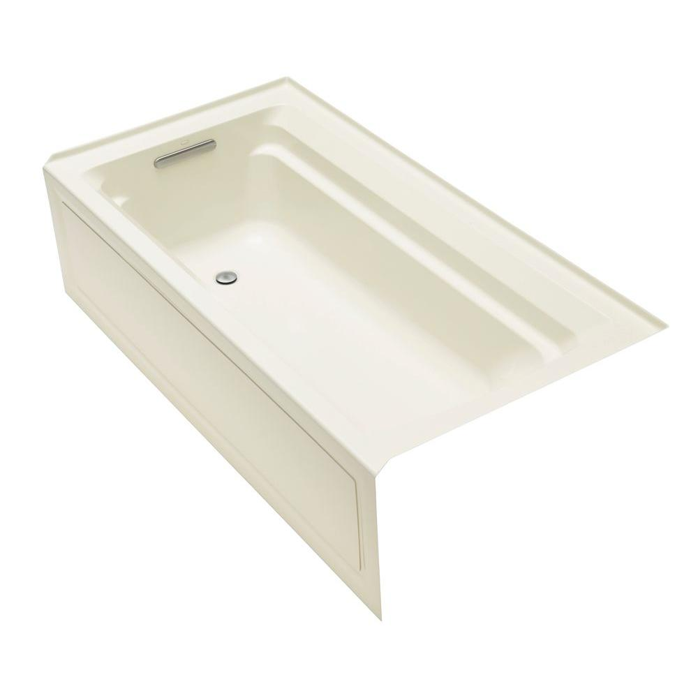 Kohler archer 6 ft acrylic left hand drain rectangular for Acrylic soaker tub