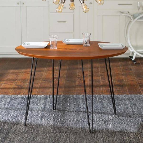46 In Walnut Round Hairpin Leg Dining Table Hdw46rdhpwt The Home Depot