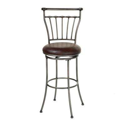 30 in. Topeka Metal Bar Stool with Coffee Upholstered Swivel-Seat and Striated Silver Frame Finish