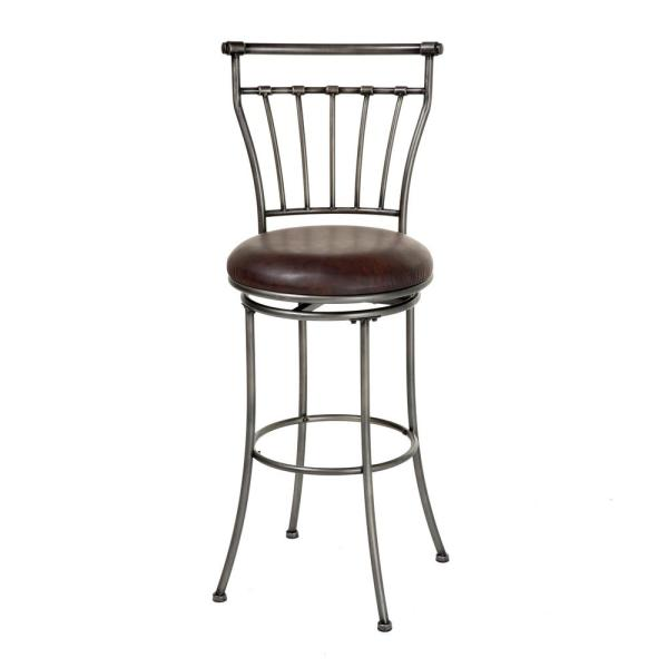 Fashion Bed Group 30 in. Topeka Metal Bar Stool with Coffee Upholstered Swivel-Seat and Striated Silver Frame Finish