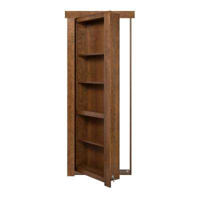 36 in. x 80 in. Flush Mount Assembled Cherry Medium Brown Stained Left-Hand Inswing Solid Core Interior Bookcase Door