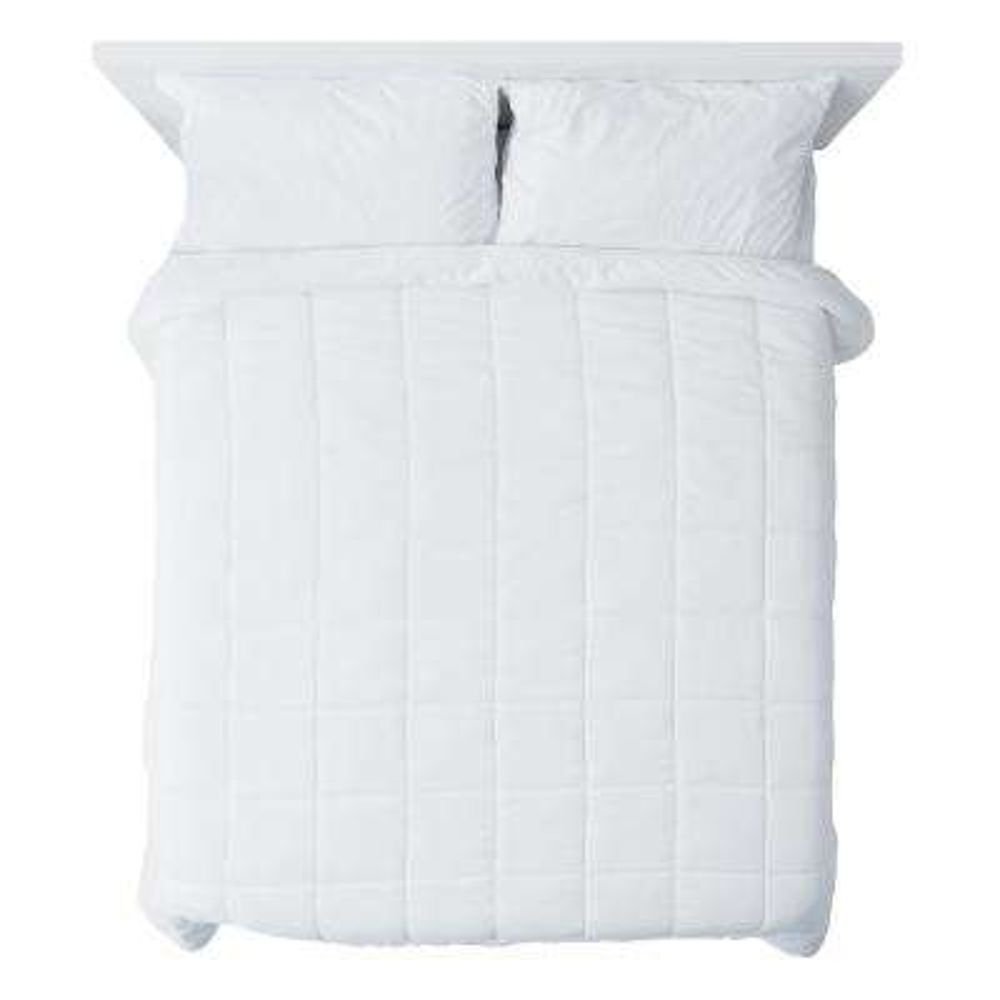 A1HC 88 in. x 92 in. Microfiber Down Alternative Solid White Box Pattern 100% Organic Cotton Full/Queen Duvet Insert