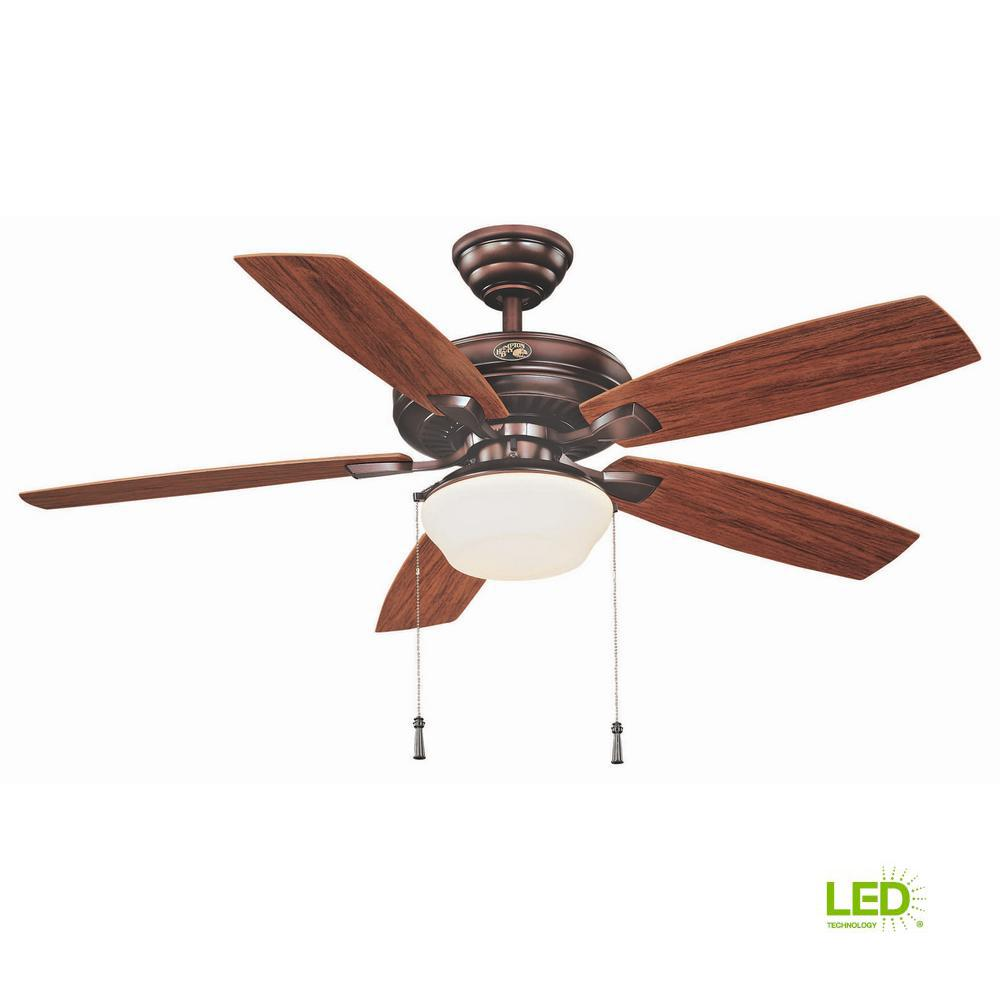 Outdoor Ceiling Fans With Light: Hampton Bay Gazebo 52 In. LED Indoor/Outdoor Weathered