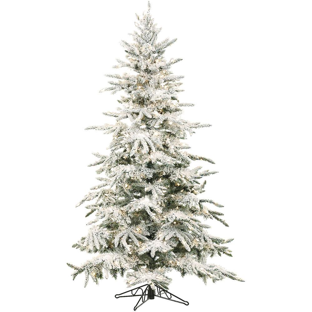7.5 ft. Pre-lit LED Flocked Mountain Pine Artificial Christmas Tree with