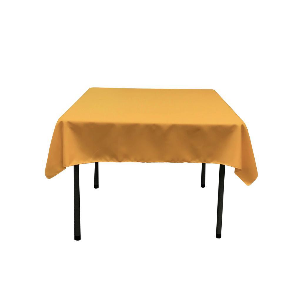 LA Linen Polyester Poplin 60 In. X 108 In. Gold Rectangular Tablecloth