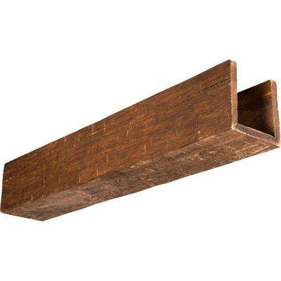 6 in. H x 6 in. W x 8 ft. L 3-Sided (U-Beam) Sandstone Endurathane Faux Wood Beam in Persian Walnut