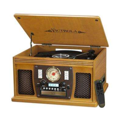 7-in-1 Bluetooth Record Player with USB Recording in Oak