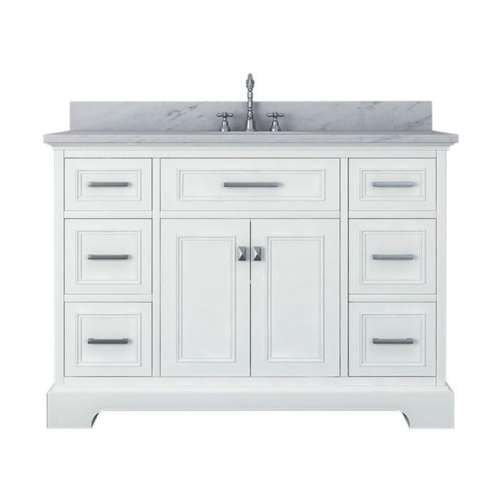 Yorkshire 49 in. W x 22 in. D Bath Vanity in White with Marble Vanity Top in White with White Basin