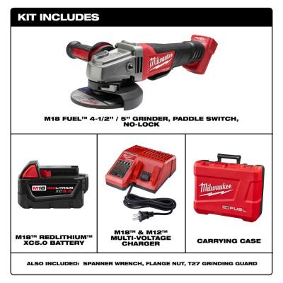 M18 FUEL 18-Volt Lithium-Ion Brushless Cordless 4-1/2 in./5 in. Grinder with Paddle Switch Kit One 5.0 Ah Batteries