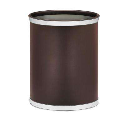Sophisticates 13 Qt. Brown and Polished Chrome Oval Waste Basket