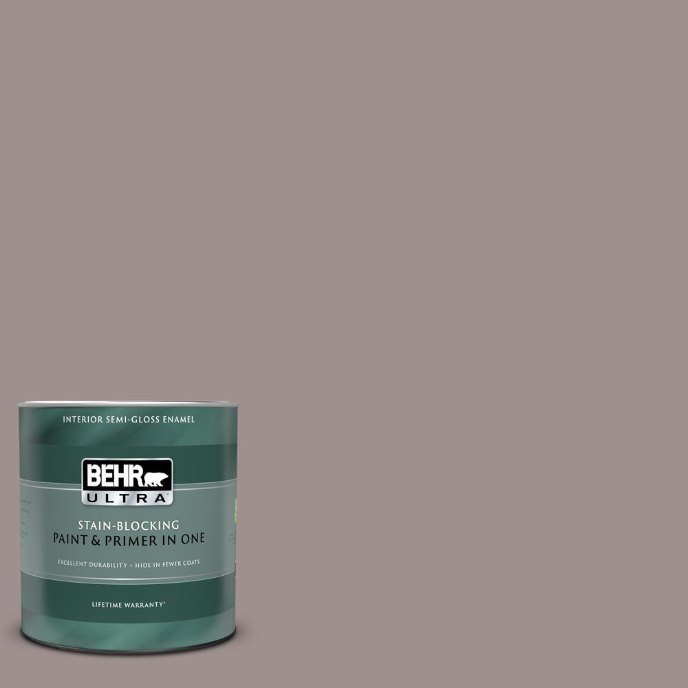 Behr Ultra 1 Qt 780b 5 Cheyenne Rock Semi Gloss Enamel Interior Paint And Primer In One 375404 The Home Depot