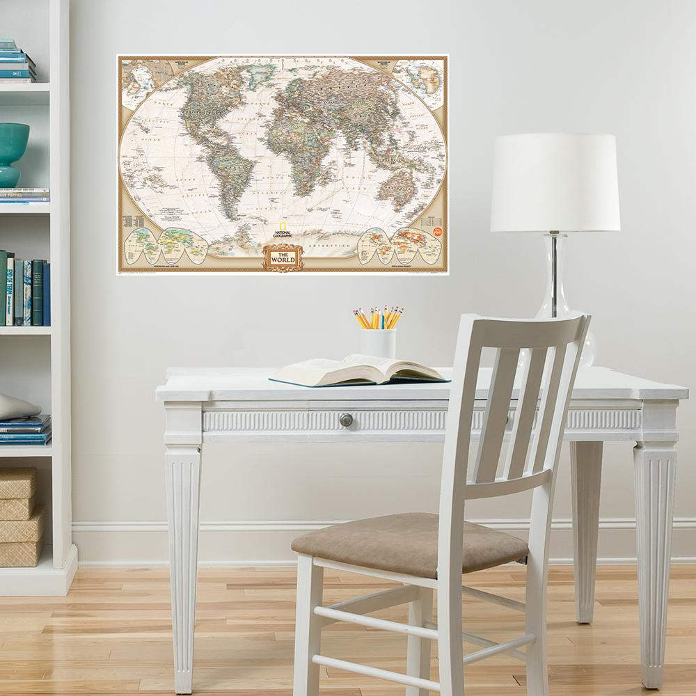 WallPOPs Neutral National Geographic World Dry Erase Map Decal ...