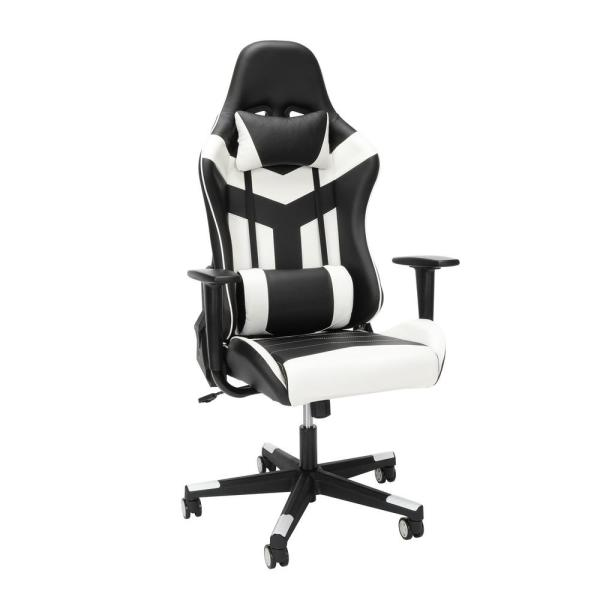Ofm Essentials Collection High Back Pu Leather Gaming Chair In White Ess 6075 Wht Ess 6075 Wht The Home Depot