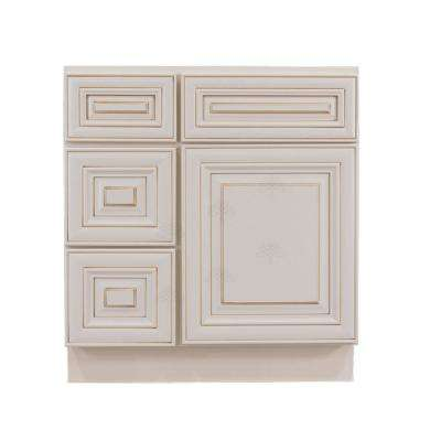 Assembled 30 in. W x 21 in. D x 33 in. H Bath Vanity Cabinet Only with 1-Door 2-Left Drawers in Creamy White Glazed