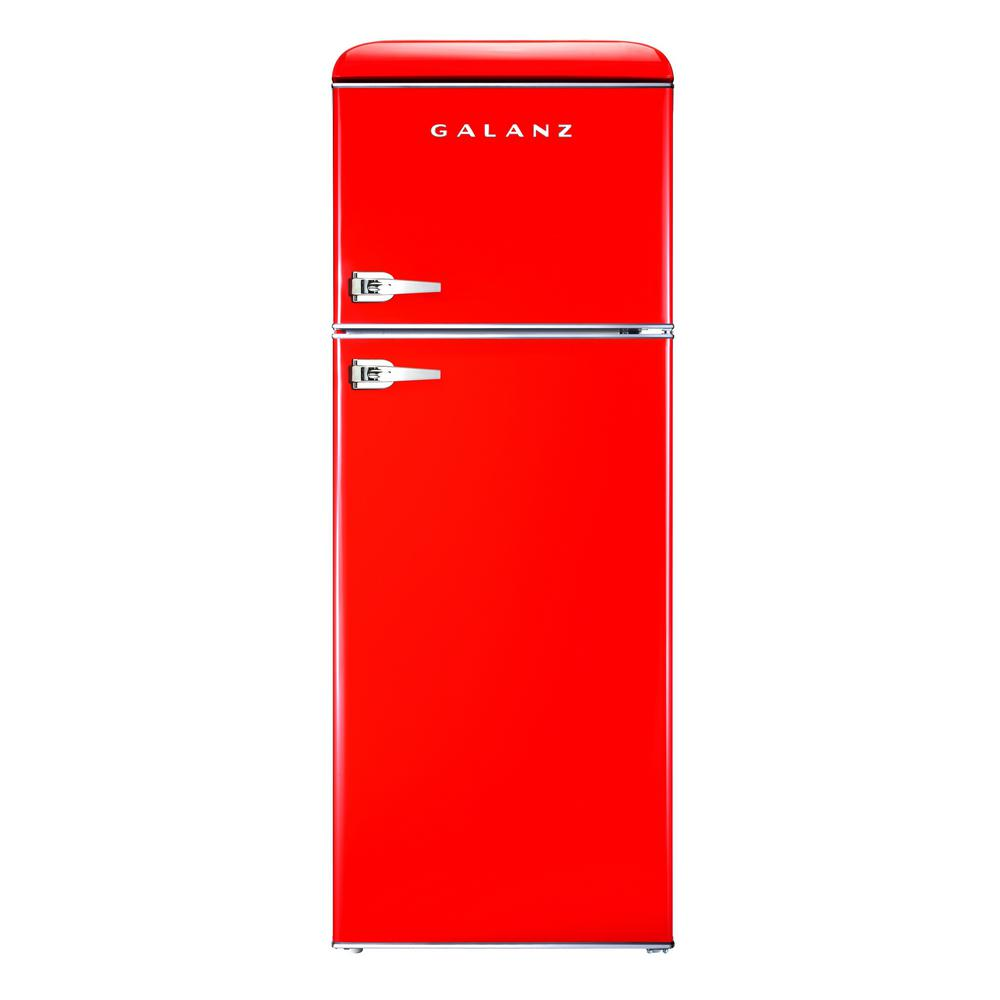 Galanz 7.6 cu. ft. Mini Retro Refrigerator in Red Galanz 7.6 cu. ft. Retro style top freezer refrigerator in red can store and keep cool snacks, beverages and more. Best of all, this mini refrigerator-freezer has the look and feel of a fabulous old days dinner, but has the appeal of a modern appliance. Featuring an adjustable thermostat, separate freezer compartment, bright interior lighting and spacious, clear fruit and vegetable crisper, the unit also has removable shelf and door shelves. It is a fun and stylish addition to any kitchen, rec room or home office.