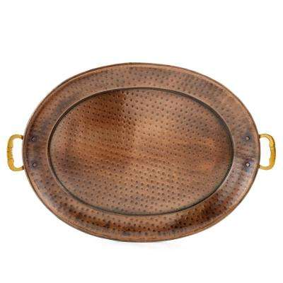 17 in. x 13 in. Antique Copper Oval Tray with Brass Handles