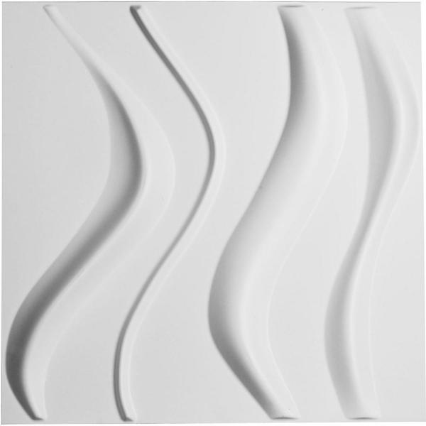 1 in. x 19-5/8 in. x 19-5/8 in. PVC White Wave EnduraWall Decorative 3D Wall Panel