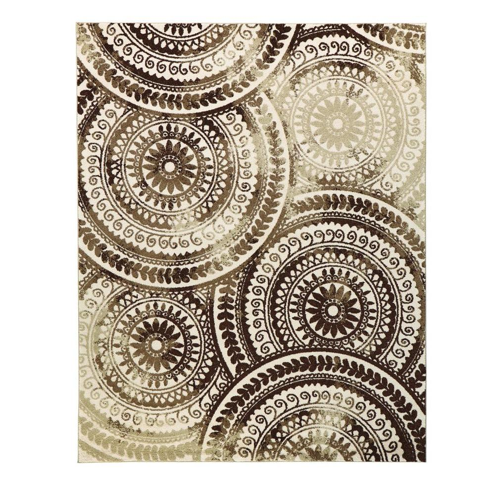 Beautiful Home Decorators Collection Spiral Medallion Ivory/Brown 8 ft. x 10  SR28