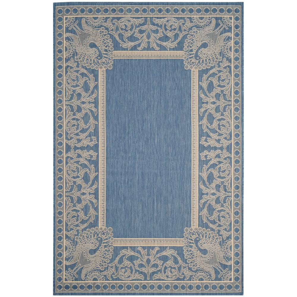 Safavieh Courtyard Blue/Natural 6 ft. 7 in. x 9 ft. 6 in. Indoor/Outdoor Area Rug