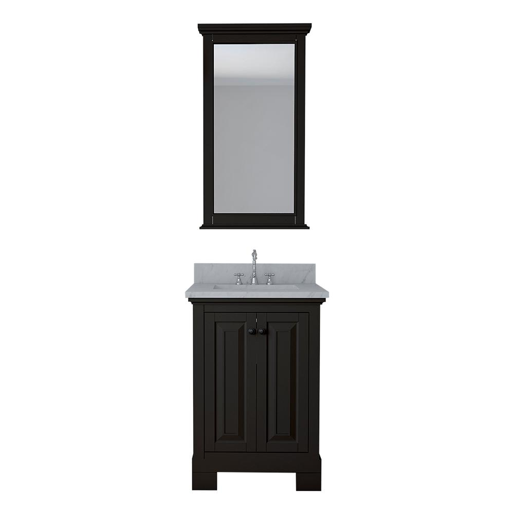 Eastwood 24 in. W x 22 in. D Bath Vanity in Espresso with Marble Vanity Top in White with White Basin and Mirror