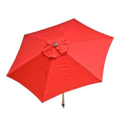 8.5 ft. Aluminum Manual Push-Up Tilt Patio Umbrella in Red Polyester