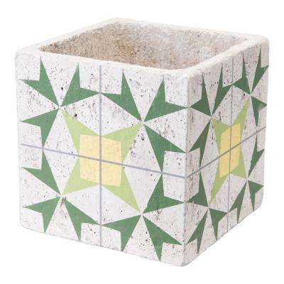 Cement Arrow 7.1 in. W x 7.1 in. H Green and Yellow Ceramic Planter